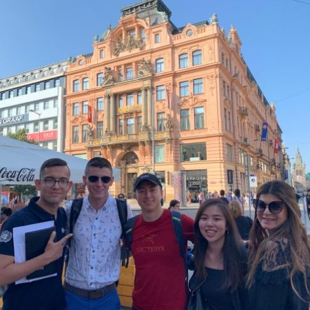 Group of TFAS Prague students in Wenceslas Square