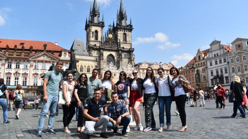 TFAS Prague students gathered in Old Town Square.